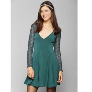 UO blue kimchi blue long sleeve skater dress